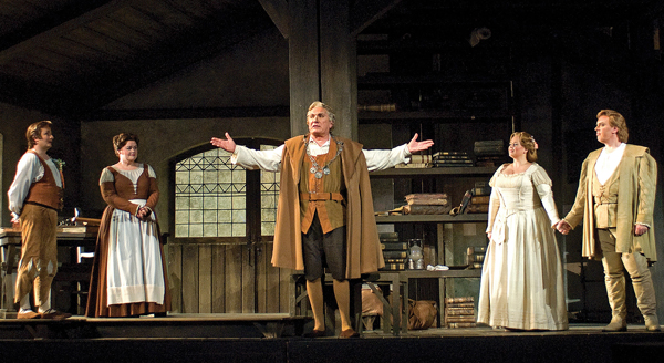 Act III Scene 1 of Die Meistersinger von Nürnberg. From left to right: Norbert Ernst as David, Maria Zifchak as Magdalene, James Johnson as Hans Sachs, Twyla Robinson as Eva, and John Horton Murray as Walther von Stolzing. Photo credit: Cincinnati Opera/Philip Groshong.